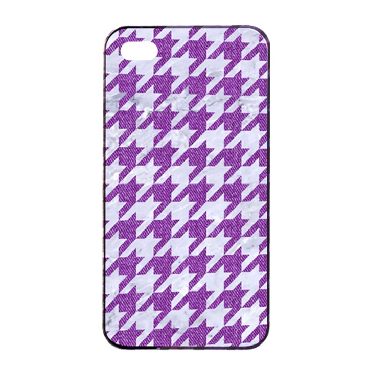 HOUNDSTOOTH1 WHITE MARBLE & PURPLE DENIM Apple iPhone 4/4s Seamless Case (Black)