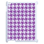 HOUNDSTOOTH1 WHITE MARBLE & PURPLE DENIM Apple iPad 2 Case (White) Front