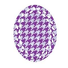 Houndstooth1 White Marble & Purple Denim Ornament (oval Filigree) by trendistuff