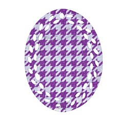 Houndstooth1 White Marble & Purple Denim Oval Filigree Ornament (two Sides)