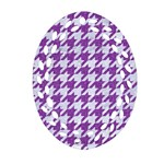 HOUNDSTOOTH1 WHITE MARBLE & PURPLE DENIM Oval Filigree Ornament (Two Sides) Back