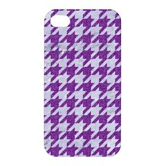 Houndstooth1 White Marble & Purple Denim Apple Iphone 4/4s Premium Hardshell Case