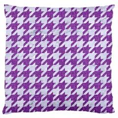Houndstooth1 White Marble & Purple Denim Large Cushion Case (one Side)