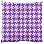 HOUNDSTOOTH1 WHITE MARBLE & PURPLE DENIM Large Cushion Case (Two Sides) Front