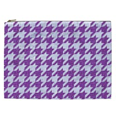 Houndstooth1 White Marble & Purple Denim Cosmetic Bag (xxl)