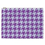 HOUNDSTOOTH1 WHITE MARBLE & PURPLE DENIM Cosmetic Bag (XXL)  Front