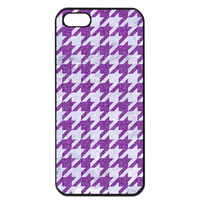 HOUNDSTOOTH1 WHITE MARBLE & PURPLE DENIM Apple iPhone 5 Seamless Case (Black)