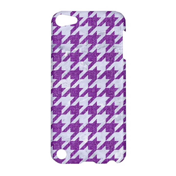 HOUNDSTOOTH1 WHITE MARBLE & PURPLE DENIM Apple iPod Touch 5 Hardshell Case