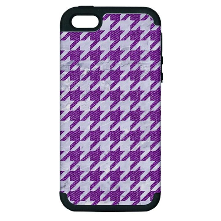 HOUNDSTOOTH1 WHITE MARBLE & PURPLE DENIM Apple iPhone 5 Hardshell Case (PC+Silicone)
