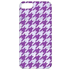 Houndstooth1 White Marble & Purple Denim Apple Iphone 5 Classic Hardshell Case