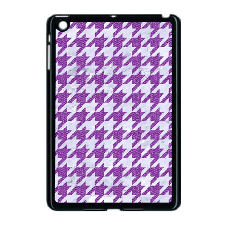 HOUNDSTOOTH1 WHITE MARBLE & PURPLE DENIM Apple iPad Mini Case (Black)
