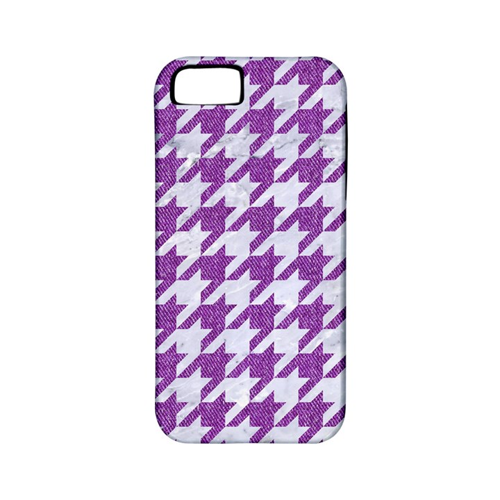 HOUNDSTOOTH1 WHITE MARBLE & PURPLE DENIM Apple iPhone 5 Classic Hardshell Case (PC+Silicone)