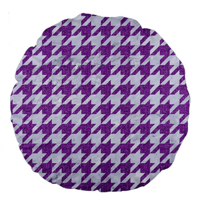 HOUNDSTOOTH1 WHITE MARBLE & PURPLE DENIM Large 18  Premium Round Cushions