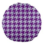 HOUNDSTOOTH1 WHITE MARBLE & PURPLE DENIM Large 18  Premium Round Cushions Back