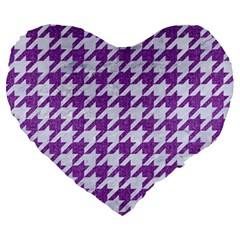 Houndstooth1 White Marble & Purple Denim Large 19  Premium Heart Shape Cushions