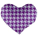 HOUNDSTOOTH1 WHITE MARBLE & PURPLE DENIM Large 19  Premium Heart Shape Cushions Front