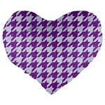 HOUNDSTOOTH1 WHITE MARBLE & PURPLE DENIM Large 19  Premium Heart Shape Cushions Back