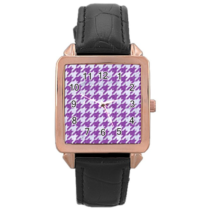 HOUNDSTOOTH1 WHITE MARBLE & PURPLE DENIM Rose Gold Leather Watch