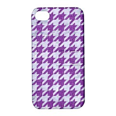 Houndstooth1 White Marble & Purple Denim Apple Iphone 4/4s Hardshell Case With Stand