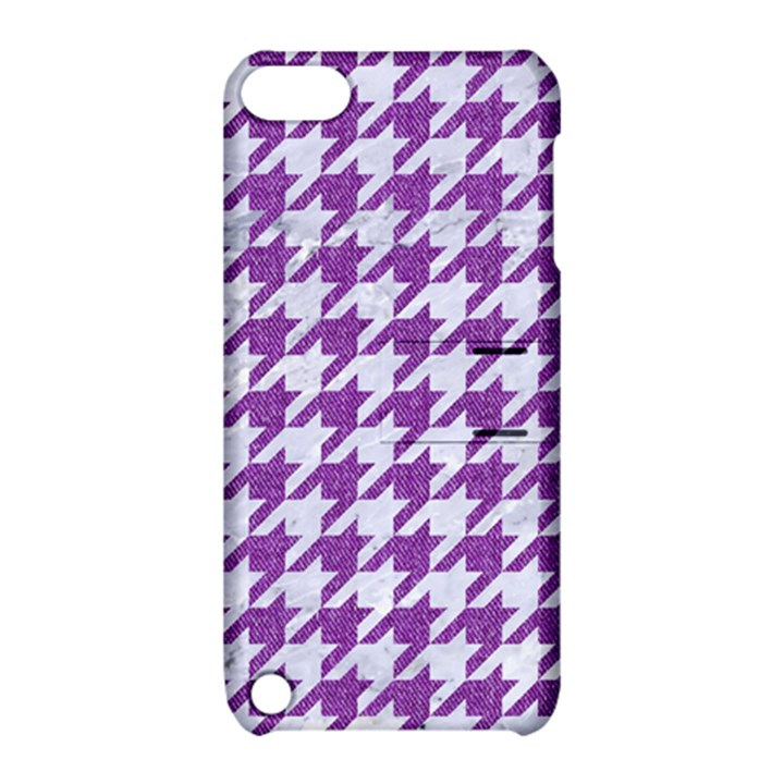 HOUNDSTOOTH1 WHITE MARBLE & PURPLE DENIM Apple iPod Touch 5 Hardshell Case with Stand