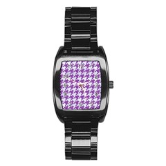 Houndstooth1 White Marble & Purple Denim Stainless Steel Barrel Watch