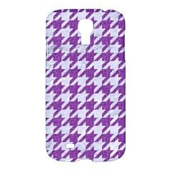 Houndstooth1 White Marble & Purple Denim Samsung Galaxy S4 I9500/i9505 Hardshell Case