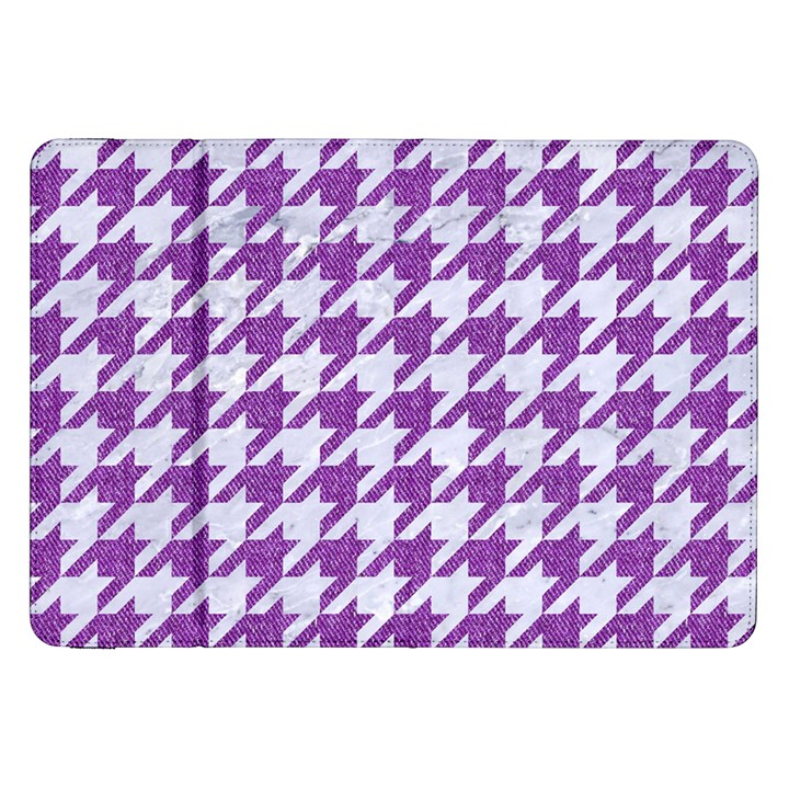 HOUNDSTOOTH1 WHITE MARBLE & PURPLE DENIM Samsung Galaxy Tab 8.9  P7300 Flip Case