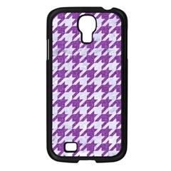 Houndstooth1 White Marble & Purple Denim Samsung Galaxy S4 I9500/ I9505 Case (black) by trendistuff