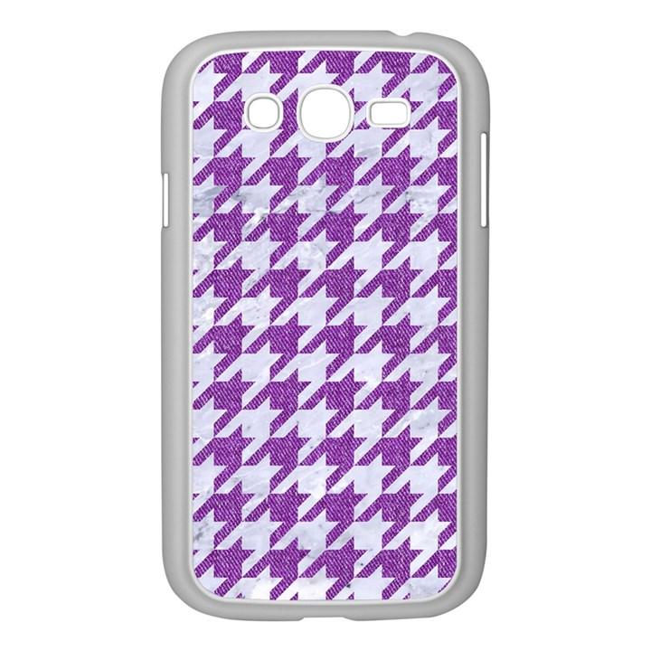 HOUNDSTOOTH1 WHITE MARBLE & PURPLE DENIM Samsung Galaxy Grand DUOS I9082 Case (White)