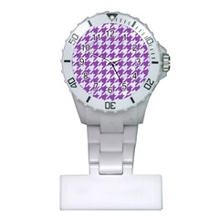 Houndstooth1 White Marble & Purple Denim Plastic Nurses Watch