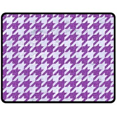 Houndstooth1 White Marble & Purple Denim Double Sided Fleece Blanket (medium)  by trendistuff