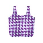 HOUNDSTOOTH1 WHITE MARBLE & PURPLE DENIM Full Print Recycle Bags (S)  Front