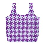 HOUNDSTOOTH1 WHITE MARBLE & PURPLE DENIM Full Print Recycle Bags (L)  Back