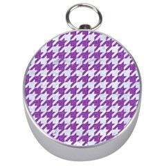 Houndstooth1 White Marble & Purple Denim Silver Compasses