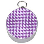 HOUNDSTOOTH1 WHITE MARBLE & PURPLE DENIM Silver Compasses Front