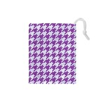 HOUNDSTOOTH1 WHITE MARBLE & PURPLE DENIM Drawstring Pouches (Small)  Front