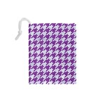 HOUNDSTOOTH1 WHITE MARBLE & PURPLE DENIM Drawstring Pouches (Small)  Back