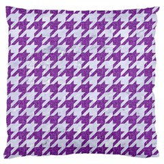 Houndstooth1 White Marble & Purple Denim Large Flano Cushion Case (one Side)