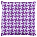 HOUNDSTOOTH1 WHITE MARBLE & PURPLE DENIM Large Flano Cushion Case (One Side) Front
