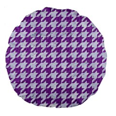 Houndstooth1 White Marble & Purple Denim Large 18  Premium Flano Round Cushions by trendistuff