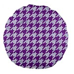 HOUNDSTOOTH1 WHITE MARBLE & PURPLE DENIM Large 18  Premium Flano Round Cushions Front