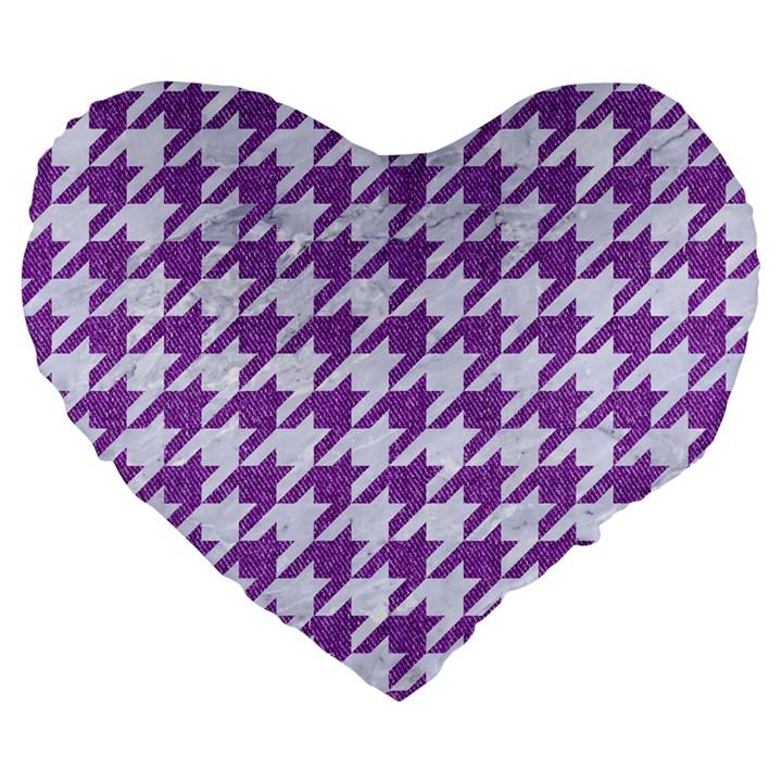 HOUNDSTOOTH1 WHITE MARBLE & PURPLE DENIM Large 19  Premium Flano Heart Shape Cushions