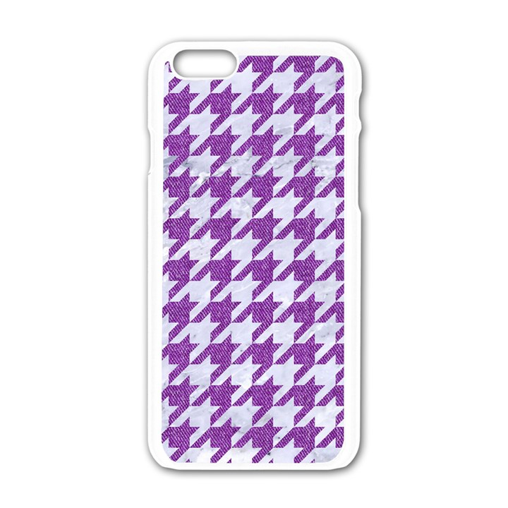 HOUNDSTOOTH1 WHITE MARBLE & PURPLE DENIM Apple iPhone 6/6S White Enamel Case