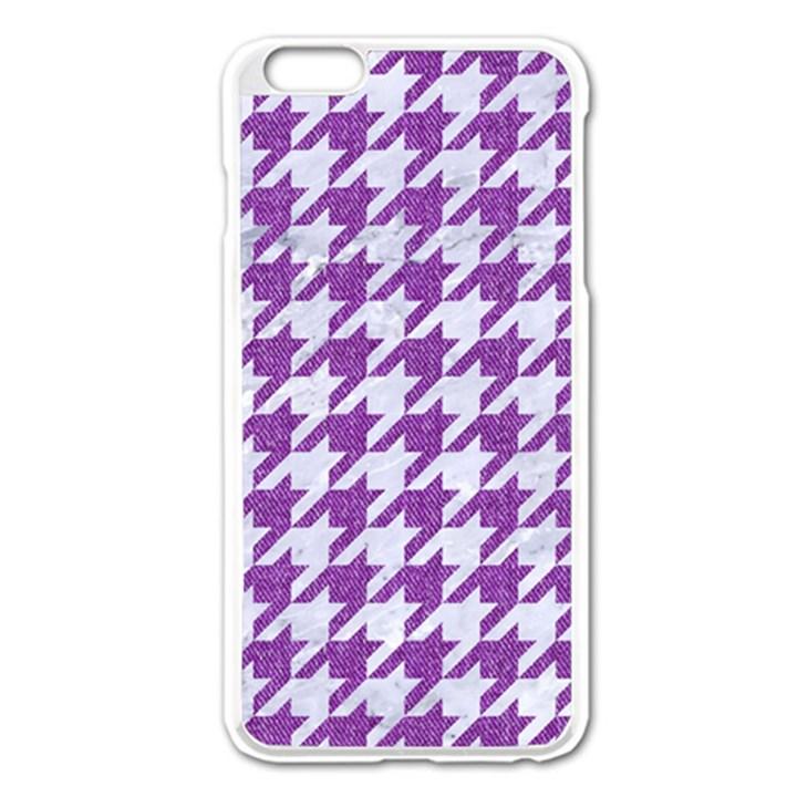 HOUNDSTOOTH1 WHITE MARBLE & PURPLE DENIM Apple iPhone 6 Plus/6S Plus Enamel White Case