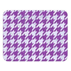 Houndstooth1 White Marble & Purple Denim Double Sided Flano Blanket (large)