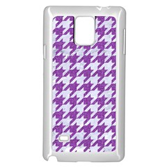 Houndstooth1 White Marble & Purple Denim Samsung Galaxy Note 4 Case (white)