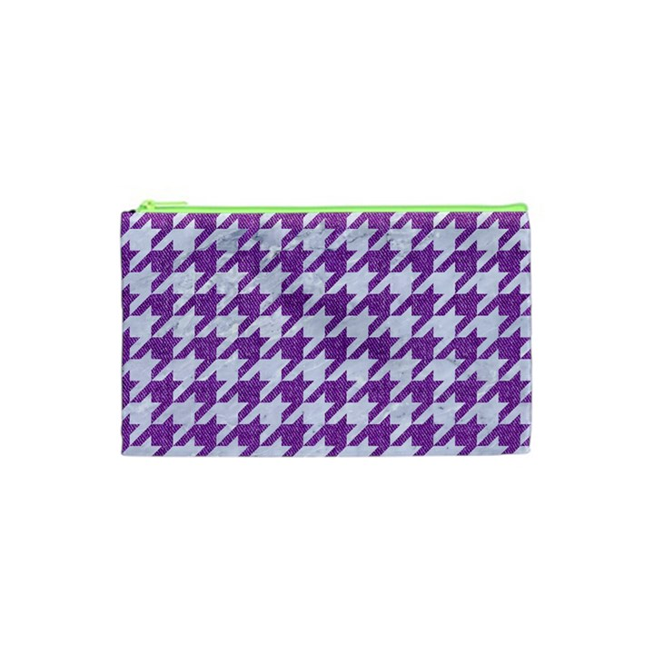 HOUNDSTOOTH1 WHITE MARBLE & PURPLE DENIM Cosmetic Bag (XS)