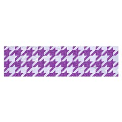 Houndstooth1 White Marble & Purple Denim Satin Scarf (oblong)