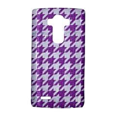 Houndstooth1 White Marble & Purple Denim Lg G4 Hardshell Case
