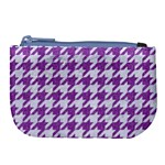 HOUNDSTOOTH1 WHITE MARBLE & PURPLE DENIM Large Coin Purse Front